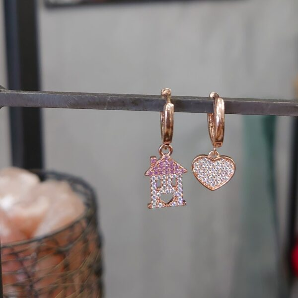 Orecchini cuore casetta rosa