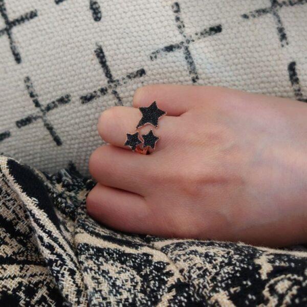 Anello stelle zirconi