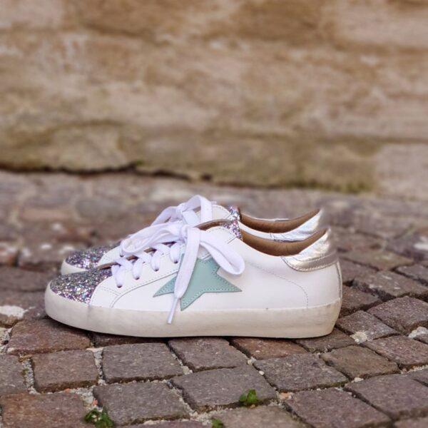 Sneaker glitter stella verde acqua